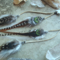bear spirit...long layered feather earrings