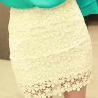 Fashion Crochet Lace High Waisted  Mini Skirt