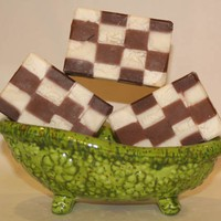 Chocolate Vanilla Squares Handmade Artisan Soap | Gingers-Garden - Bath &amp; Beauty on ArtFire