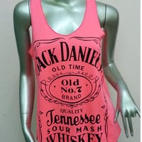 Jack Daniel's Tennessee Whiskey Old Time T-Shirt Women shirt Tank Top vest sleeveless shirt screen Rock Punk classic Pink S26 Size S M