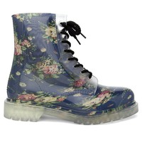 Floral Print Rubber Rain Boots with Lace Up Front