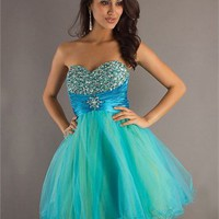 Sweetheart A-line open back dark sky blue Mini with Sequins Prom Dress PD0316