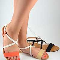 Womens Sandals Flat Gladiator Color Block Strappy Light Orange Beige Black New