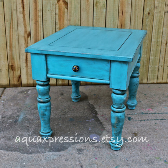 Turquoise Blue/ Night Stand /End Table/ From AquaXpressions On