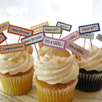 Cake Topper Cupcake CUSTOM Party Picks 12 Treat by charmsbydiana