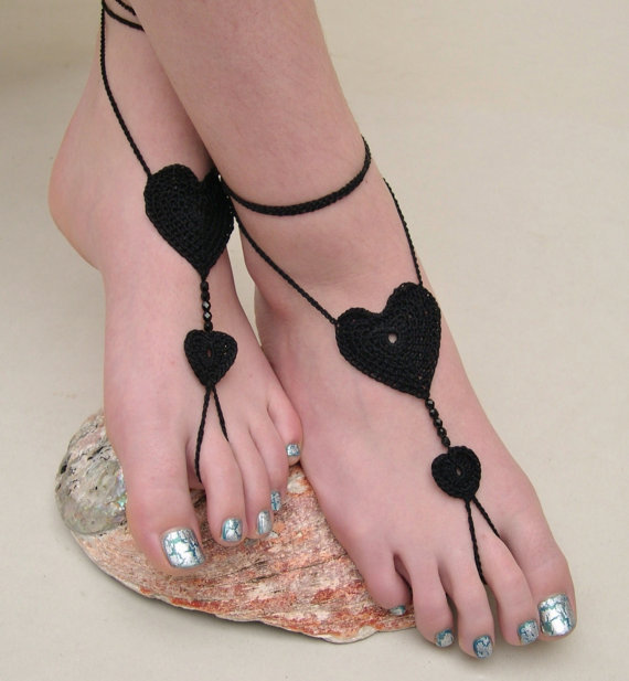 Black Heart Barefoot sandals - Crocheted from MaryKCreation on