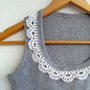 Crocheted Top, Crochet Tshirt, Cotton Shirt,Lace Top, Grey Shirt,Dark Clouds, Spring Fashion