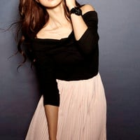 Cotton Chiffon elastic Pile Collar Pleated Dresses Pink : Wholesaleclothing4u.com