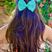 Turquoise Sparkly Bow Hair Clip Headpiece from LullaBellz