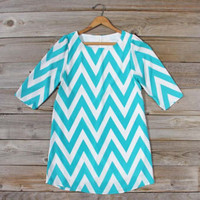 Seaflower Chevron Dress in Sea, Sweet Women's Bohemian Clothing
