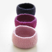 Felted bowl  purple dream  3 little bowls in by theYarnKitchen