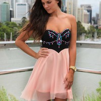 Peach Strapless Chiffon Dress with Jewel Embellishment