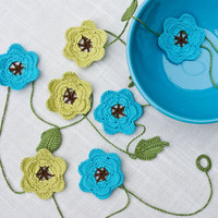 Crochet Flower Garland, Crochet Housewares, Custom Order, in your color choices