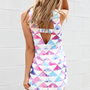 Multi Color Illusion Print Button Up Tank with Cutout Back