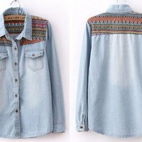 Vintage Tribal Print Blue Denim Shirt