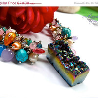 ON SALE Rainbow Druzy Necklace - ROCK Candy gemstone jewelry made in Hawaii, funky statement piece