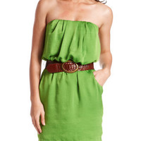 Charlotte Russe - Belted Hammered Satin Dress