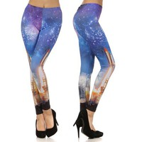 Rocket Space Leggings Galaxy Cosmic Print Comfy Stretch USA Made Fashion Trend