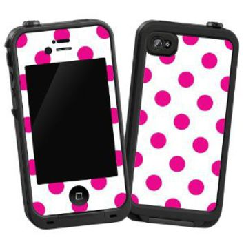 """Hot Pink Polka Dot on White """"Protective Decal Skin"""" for LifeProof iPhone 4/4s Case"""