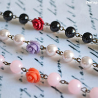 You Choose Color - Flower Bracelet Pearl Bracelet Bridesmaid Bracelet Flower Girl Bracelet Vintage Rose Bracelet - Handmade