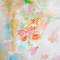 Large Abstract Art Still Life Floral Arrangement 30x40 Floral Painting Pink Flowers Springtime