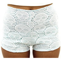 Turquoise and White Lace Skull Shorts | VidaKush
