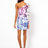 ASOS One Sleeve Dress In Jewel Print at asos.com