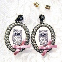 ONE DOLLAR SALE - Cute Owl Dangle Earrings with Bows