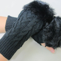NEW fur trimmed arm warmers BLACK fingerless gloves great for stocking stuffers holiday gifts under 20 by Catherine Cole Studio