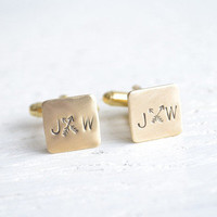 White Truffle Studio — Personalized cross arrows and initial stamped boho chic cufflinks (BB110)