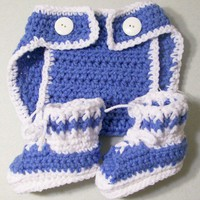 Baby Boy Gift Set--blue-diaper Cover-Athletic shoes-unique-handmade