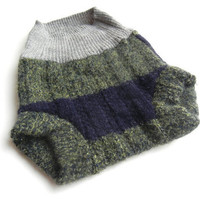 SMALL Upcycled Wool Diaper Cover, Dark Hunter Green Tweed, Repurposed, Navy Blue Stripe, Gray Cuffs, Moss Green, Gender Neutral, Boy