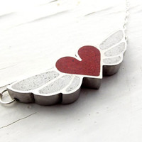 Flying Heart Red Heart and White Wings by DrCraze on Etsy