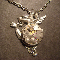 Steampunk Dragon with Watch Movement Necklace  by CreepyCreationz