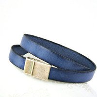Sodalite blue leather bracelet double by TyssHandmadeJewelry