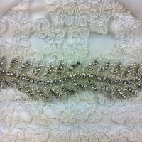 Beading & Crystal Wedding Dress Belt, Wedding Sash Crystal Sash on Satin Ribbon