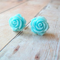 T I D E - Soft Turquoise Teal Blue Ocean Colored Rose Flower Silver Plated Post Stud Earrings