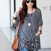 Korean Women Fashion Leopard T-Shirt 1072 Long Loose Batwing Sleeve Tee TOPS