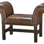 One Kings Lane - Furniture Finds - Faux Leather Bench, Brown/Caramel