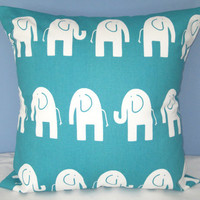 "Turquoise Elephant Pillows Baby Children Kids Pillow Bedding Elephants Decorative Throw Pillow Cover 18"" x 18"""