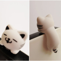 SALE 8020OFF white Cat hanging // iPhone Plug  Phone by Kappuruu