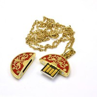 Necklace Golden Victoria 4GB 4G USB 2.0 Flash Memory Drive Thumb Stick Mini Size