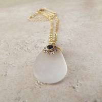 White Sea Glass Necklace:  24K Gold Wire Wrapped Beach Wedding Jewelry, Jet Black Swarovski Flower