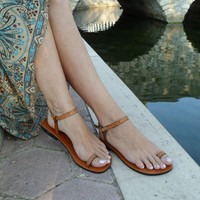 Lovely and Delicate Toe  Ring Ankle Strap With Design Barefoot Sandals In Tan - Dream