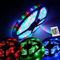5M 16ft DC 12V 3528 SMD RGB Muti-Color Waterproof Strip 300 LED Light + Remote