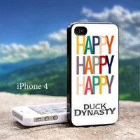 Happy Happy Happy Duck Dynasty - Design For iPhone 4 / 4s Black Case