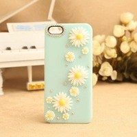 Nice Sky Blue Little Daisy Rhinestone Hard Cover Case For Iphone 4/4s/5