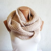 winter trends,both long,,infinity Scarf.Knit Block Infinity Scarf. Loop Scarf, Circle Scarf, Neck Warmer. Vanilla Crochet Infinity
