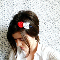 Nautical rosette headband with red flower by NatbeesFashion