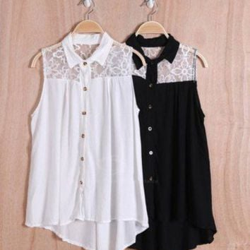 Cute Lace Back Sleeveless Shirt
